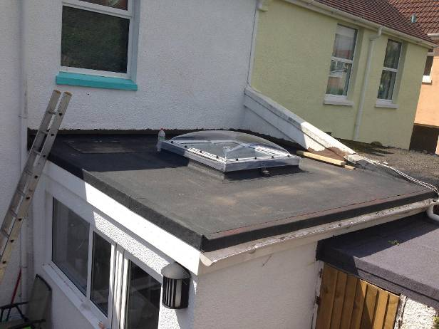 new flat roof on an extension