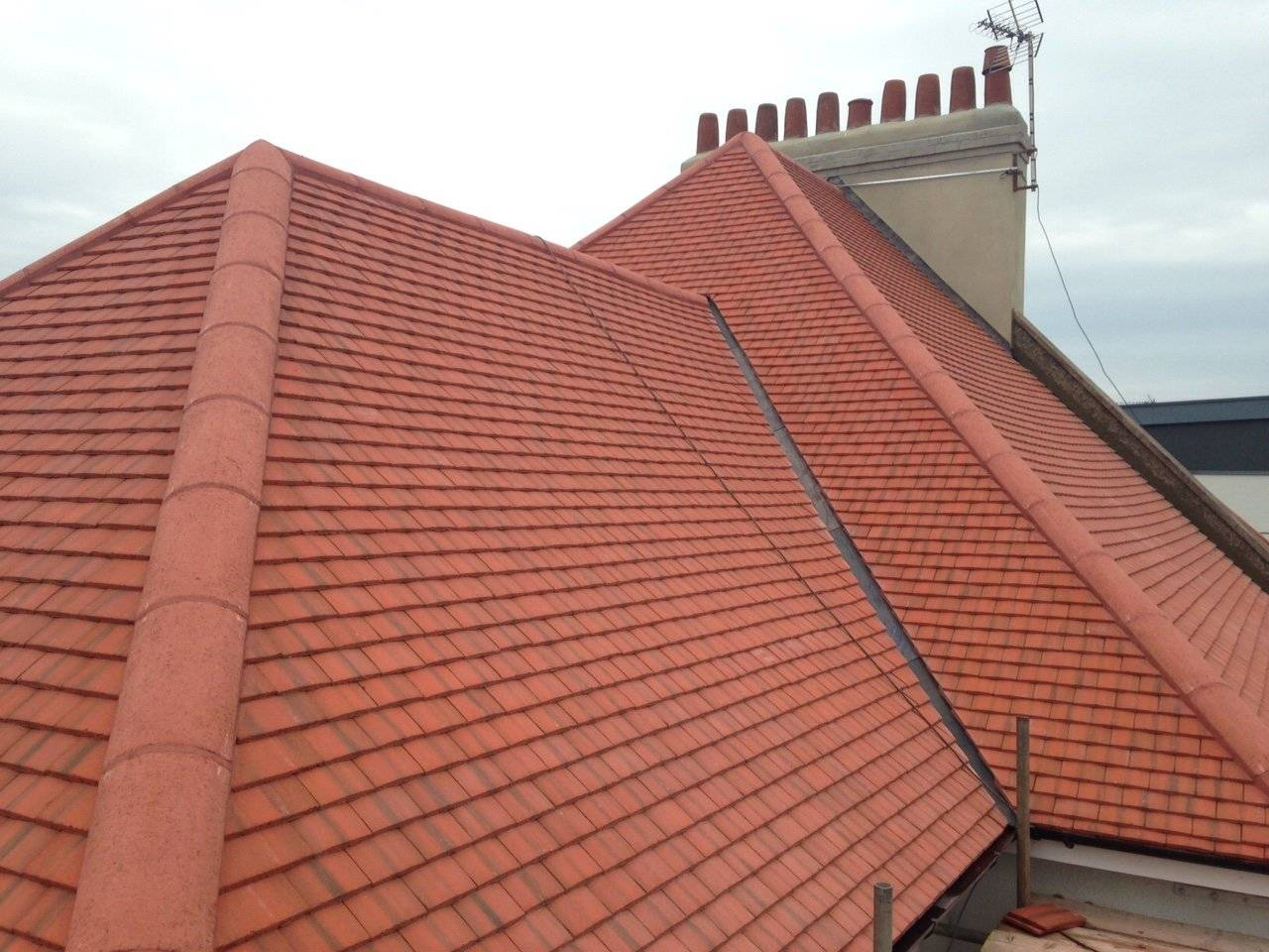 new retiled roof with clay tiles